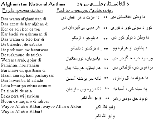 Afghanistan National Anthem emphasizes the unity of Afghans