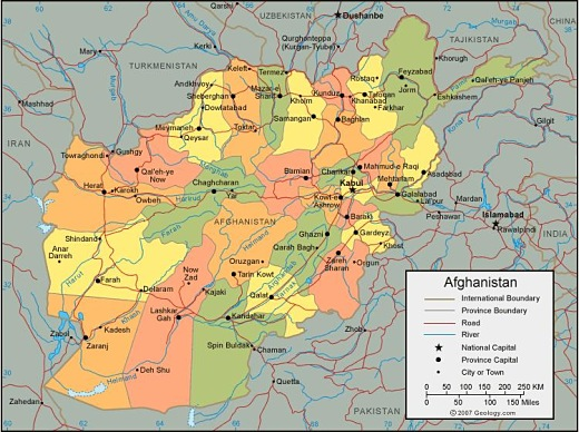 Map of Afghanistan including the cities and districts of the region